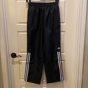 Adidas black with white stripe, wind pant.